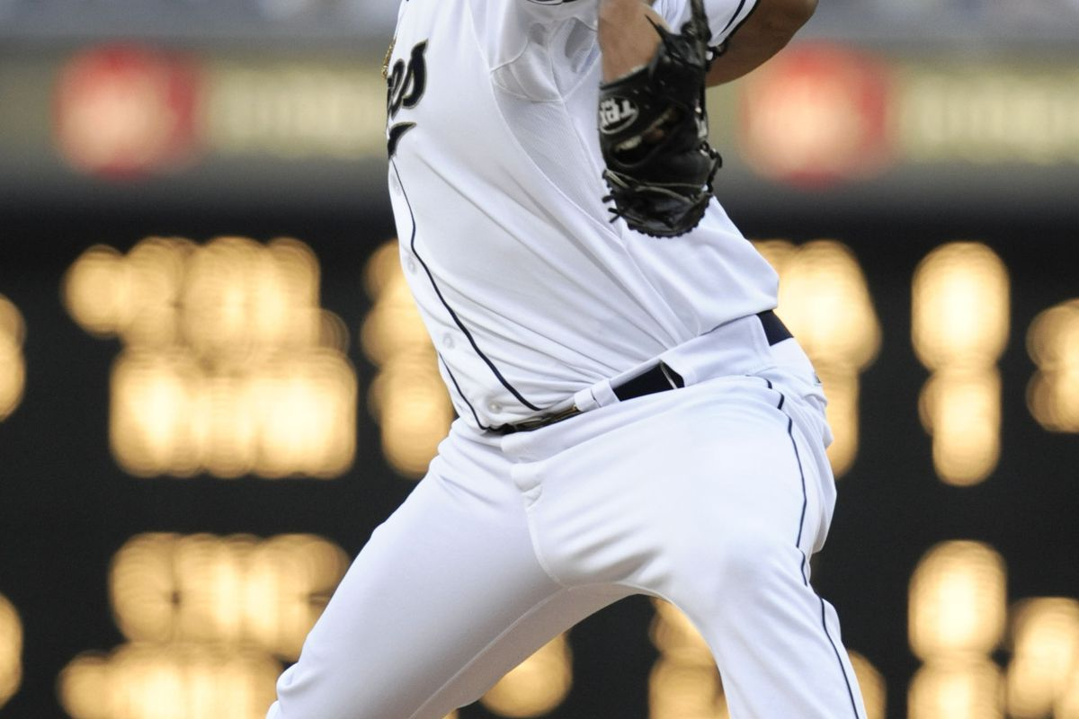 SAN DIEGO, CA - AUGUST 20:  Edinson Volquez #37 of the San Diego Padres pitches during the first inning of a baseball game against the Pittsburgh Pirates at Petco Park on August 20, 2012 in San Diego, California.  (Photo by Denis Poroy/Getty Images)