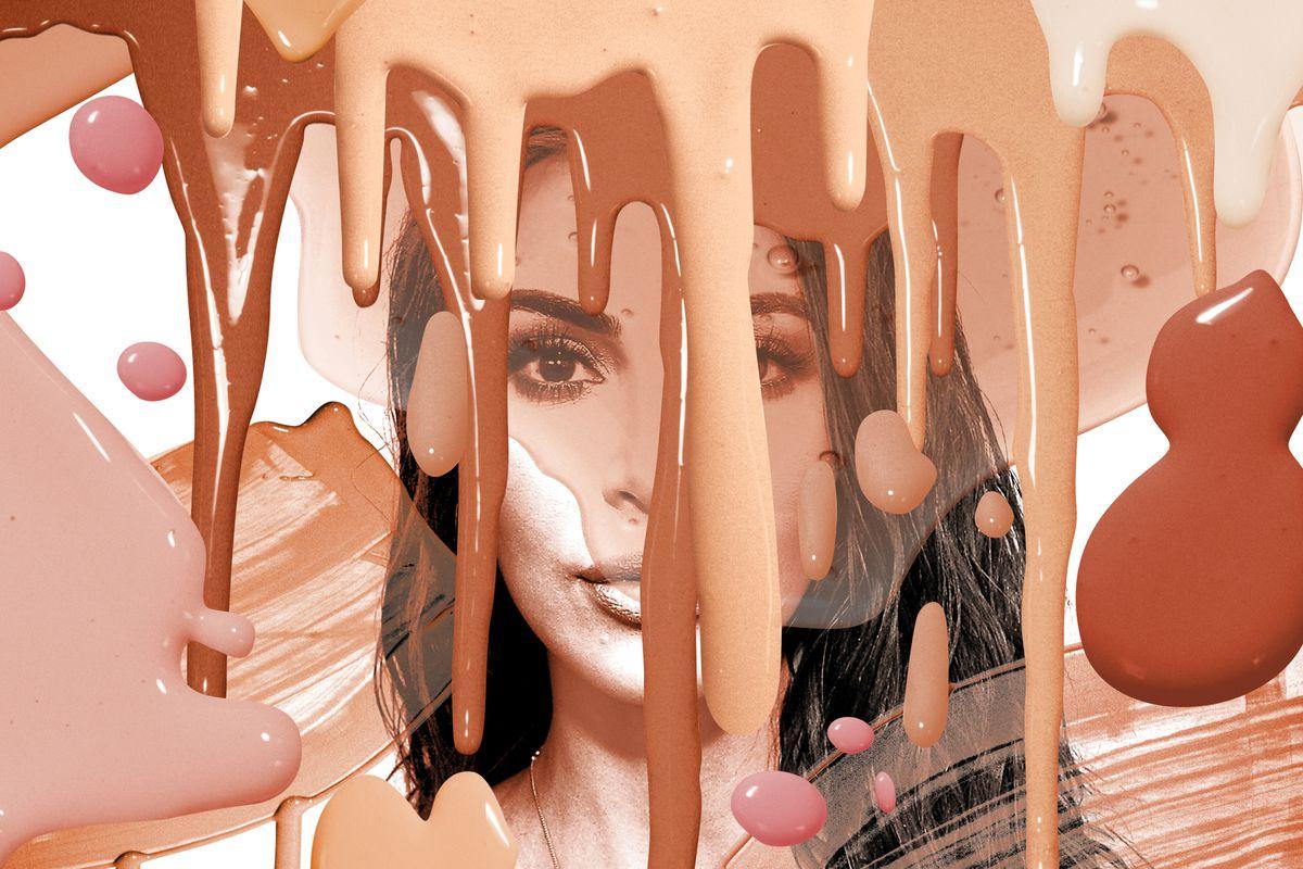 Kim Kardashian with makeup splatters over her face