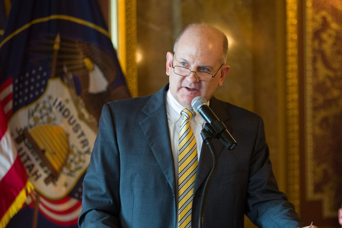 David Damschen makes a few remarks after being sworn in as state treasurer by Utah Supreme Court Justice John Pearce inside the Gold Room at the Capitol on Wednesday, Jan. 13, 2016.