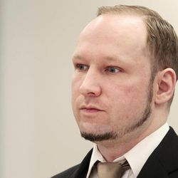 Accused Norwegian Anders Behring Breivik sits in the courtroom, in Oslo, Norway, Tuesday April 17, 2012. The anti-Muslim fanatic who admitted to killing 77 people in a bomb-and-shooting massacre is set to take the stand in his terror trial. Anders Behring Breivik will have five days to explain why he set off a bomb in Oslo's government district, killing eight, and then gunned down 69 at a Labor Party youth camp outside the Norwegian capital.
