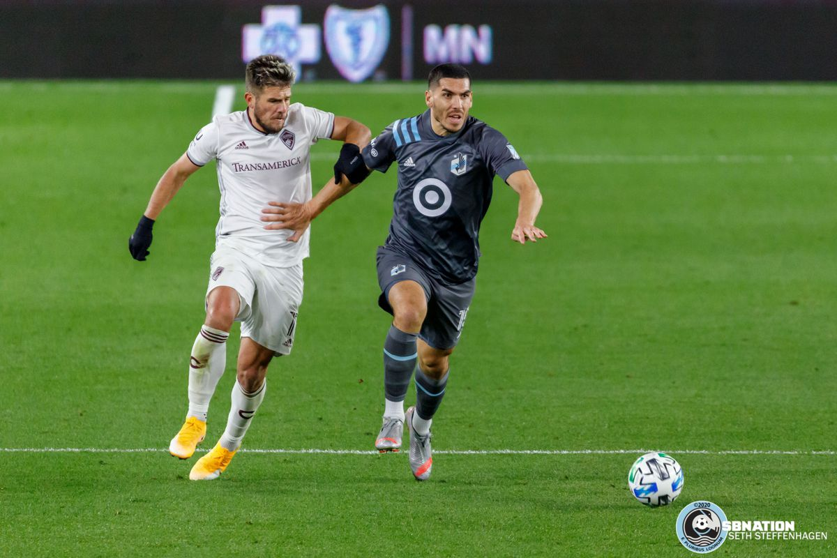 October 28, 2020 - Saint Paul, Minnesota, United States - Colorado Rapids forward Diego Rubio (11) chases down Minnesota United defender Michael Boxall (15) for the ball during the match at Allianz Field.
