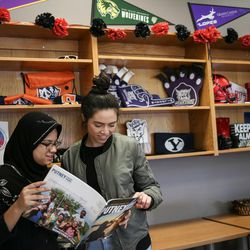 Myya Min and Laila Reyes, both 18, hang out in the Our CASA space at West High School in Salt Lake City on Friday, Feb. 24, 2017. Our CASA spaces are part of an initiative to increase access to higher education for first-generation students and their families on Salt Lake City's west side.