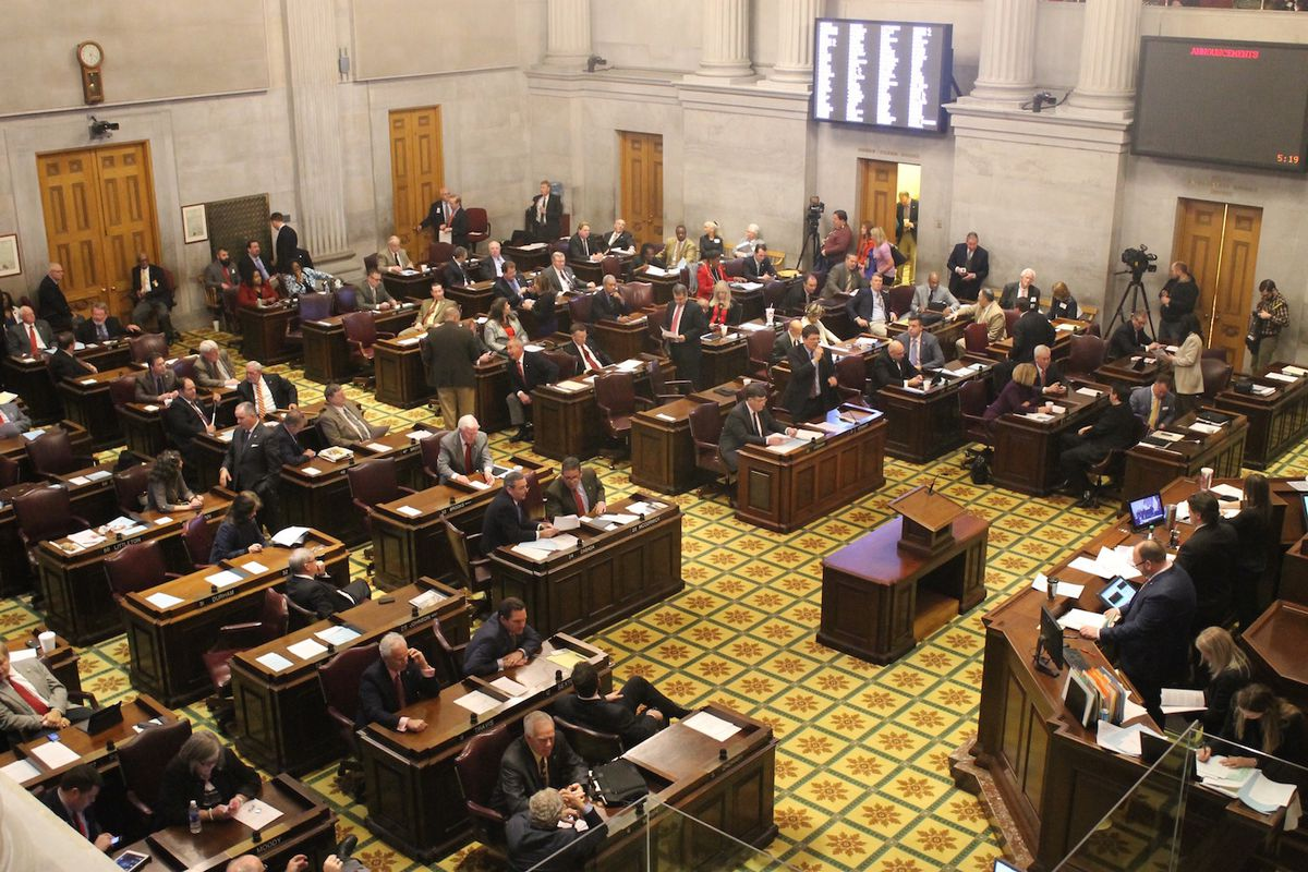 The chambers for the Tennessee House of Representatives anchors the state Capitol in Nashville.