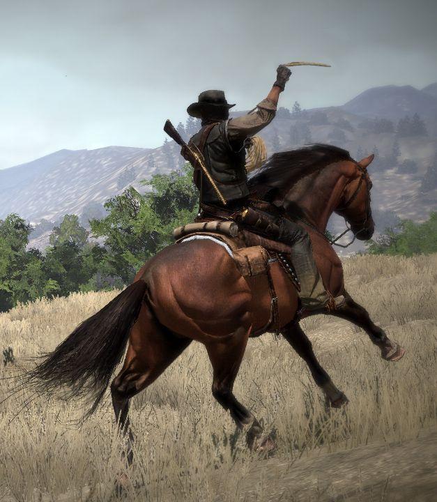 Red Dead Redemption - John Marston on horseback preparing his lasso