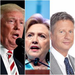 Republican Donald Trump continues to lead in a new UtahPolicy.com poll of the state's voters released Monday, but Democrat Hillary Clinton is slipping while Libertarian Gary Johnson is surging.