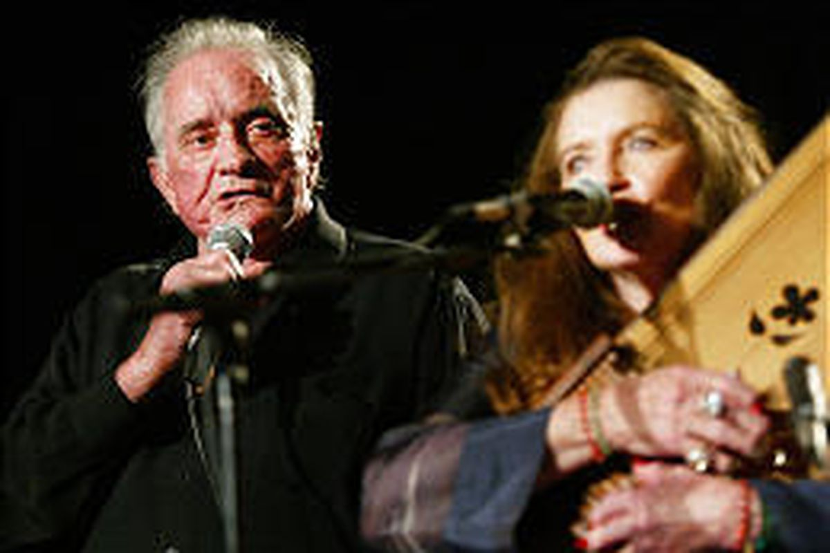 Johnny Cash performed with wife June Carter Cash at the first Americana Awards Show in Nashville in 2002.