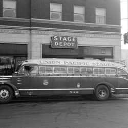 Union Pacific had it's own bus service to offer travelers who visited Salt Lake. And note they still called the pick up point the stage depot.