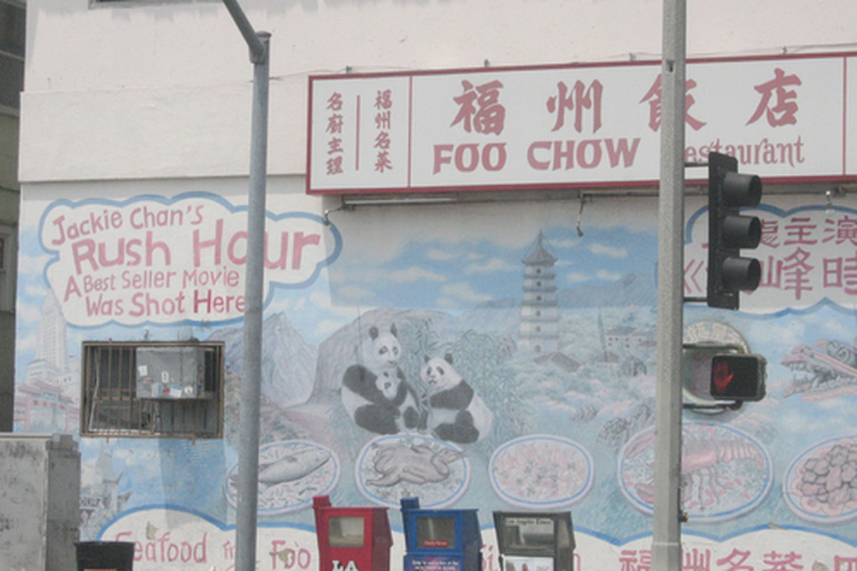 Outside Foo Chow Restaurant, Chinatown.