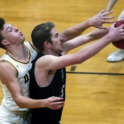 Action in the Layton at Davis boys basketball game in Kaysville on Friday, Jan. 22, 2021.