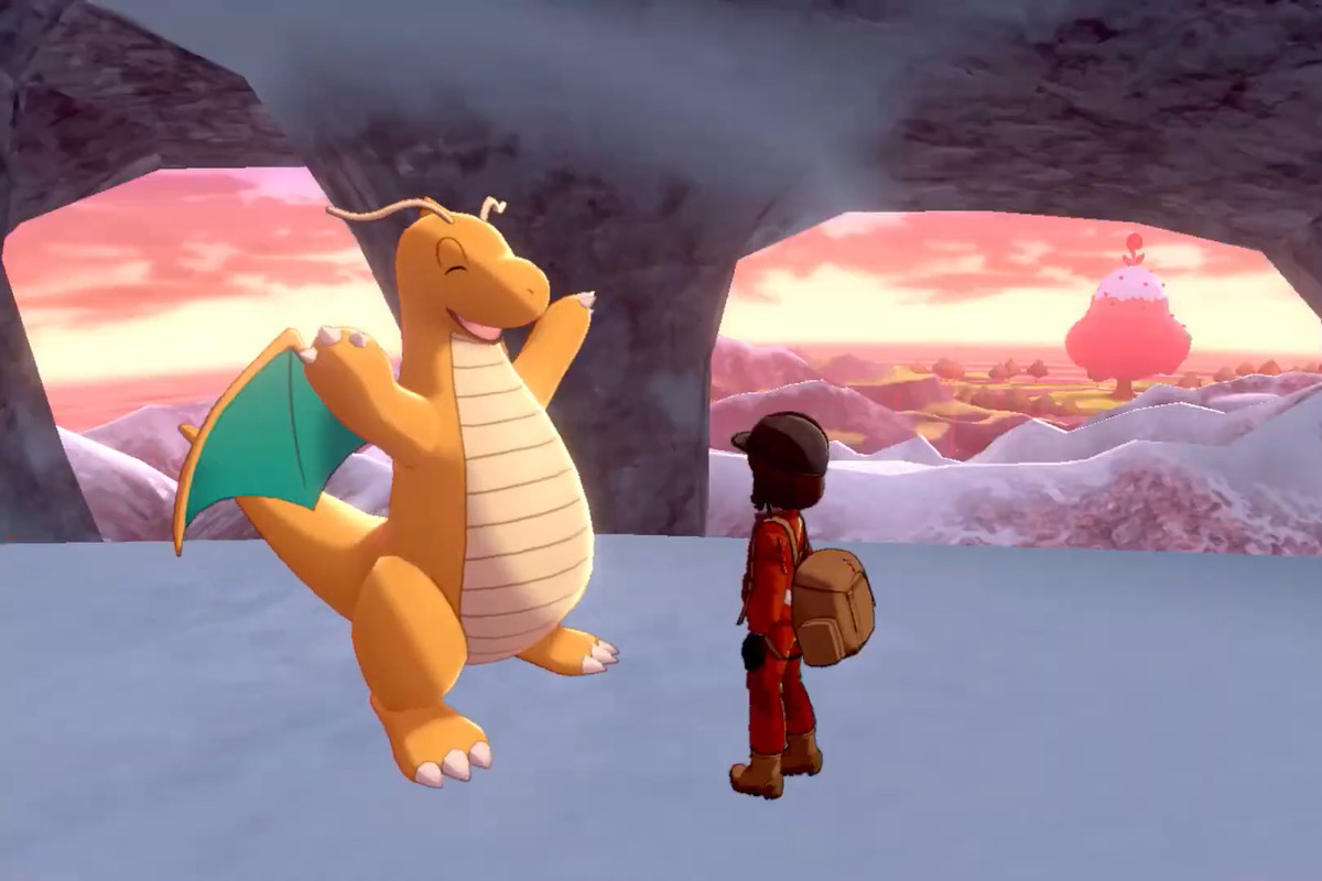 Dragonite and trainer in Pokémon Sword and Shield: The Crown Tundra