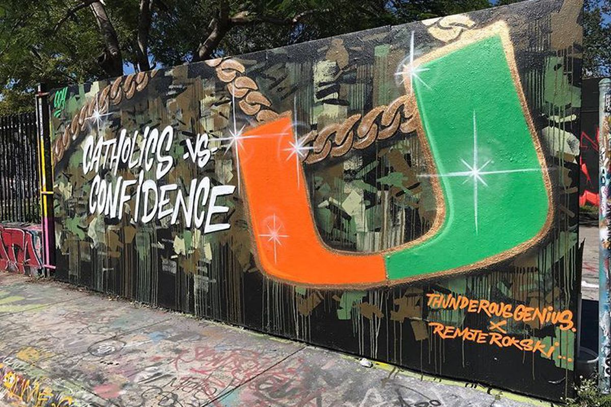 Massive Miami Hurricanes turnover chain mural surfaces in Wynwood