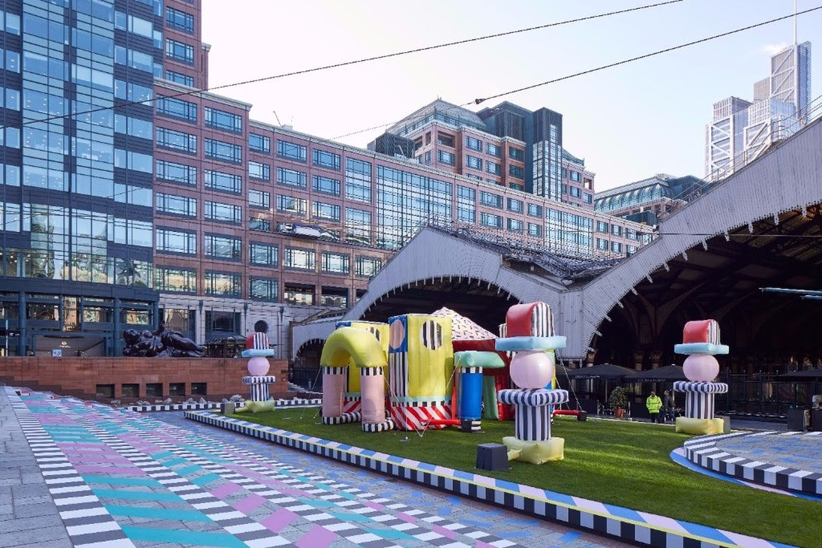 ... a playscape by artist Camille Walala that made its debut in the English  capital's Exchange Square last Saturday, takes inspiration from Memphis  Design.
