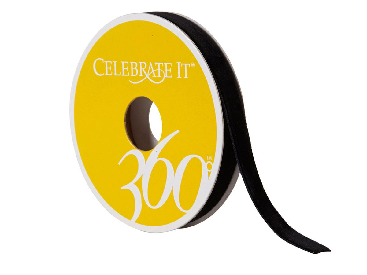 "Celebrate It 360° Black Velvet Ribbon - 3/8"", $2.99 for three yards"