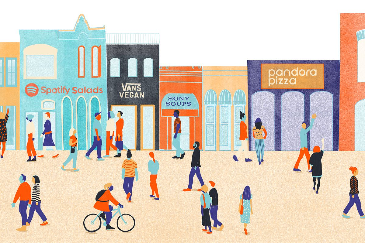 Illustration of people in front of fake sponsored stores in Austin at SXSW.