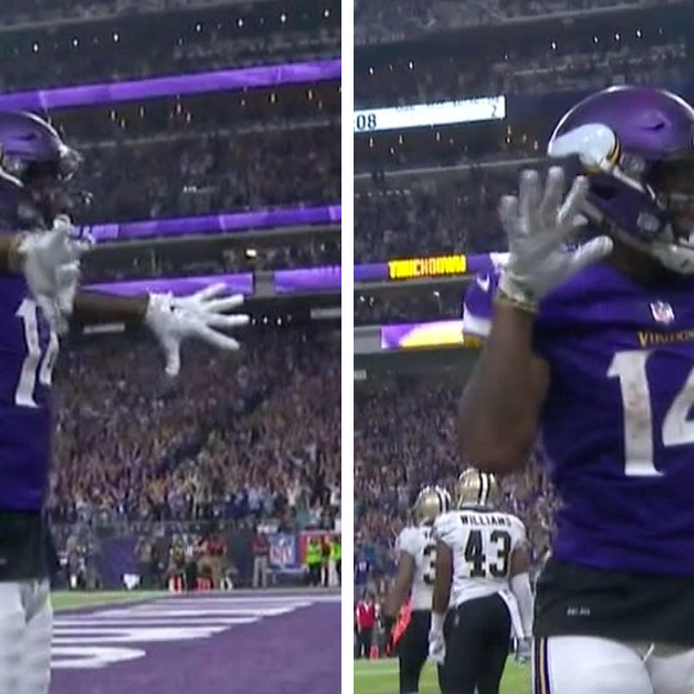 7ffc19ac8 Vikings  Stefon Diggs celebrates with an homage to Randy Moss - SBNation.com