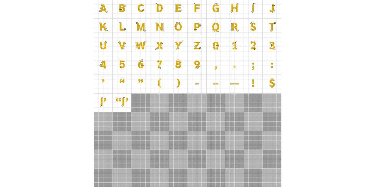 Adobe Illustrator artboard with all drop cap letters, numbers, and punctuation marks organized on a grid