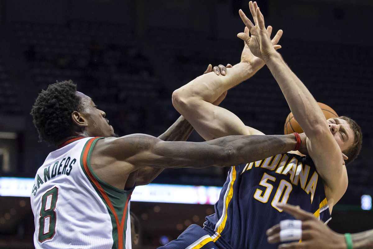 Larry Sanders doing what most NBA players would like to do to Tyler Hansbrough.