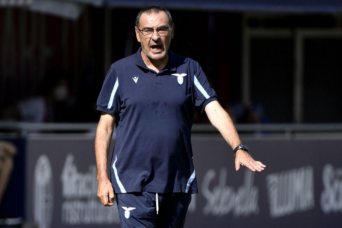 Maurizio Sarri coach of SS Lazio reacts during the Serie A...