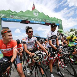 Riders prepare to start stage seven of the Larry H. Miller Tour of Utah in Park City on Sunday, Aug. 7, 2016.