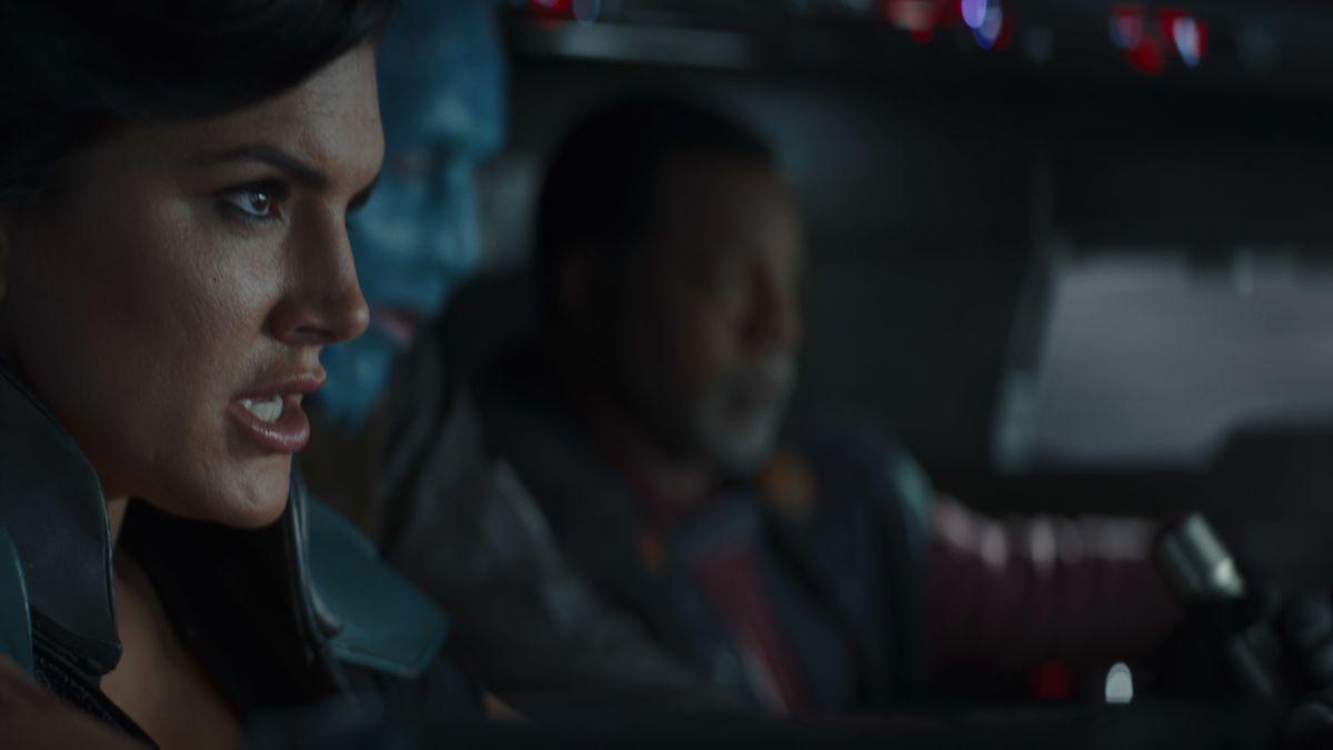 "Cara Dune (Gina Carano) and Greef Karga (Carl Weathers) in ""The Mandalorian"" Season 2."