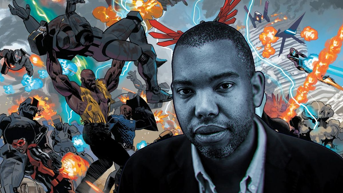 Graphic comic background with a portrait of Ta-Nehisi Coates