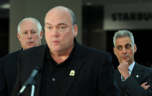 John Coli of Teamsters Joint Council 25 with Mayor Rahm Emanuel, right, and then-Gov. Pat Quinn, left at a news conference in October 2011.   Sun-Times file photo