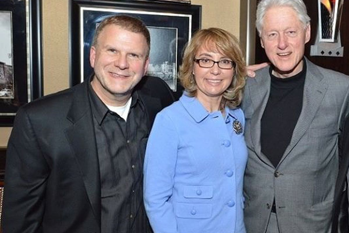 Tilman Fertitta, Gabby Giffords and former President Bill Clinton, who dined at Vic & Anthony's at the Golden Nugget on Monday night.