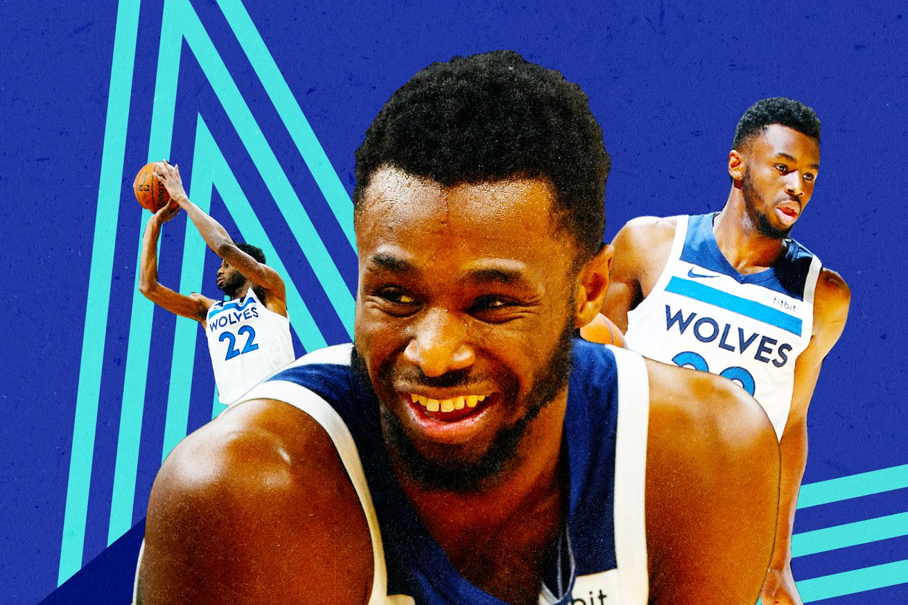 A collage of three photos of Andrew Wiggins.