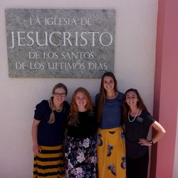 Sister MIranda Mann, Sister Ashli Brooks, Sister Sarah Pearce, Sister Eliza Turner pose together in Puerto Rico before hurricanes Irma and Maria changed their service as Mormon missionaries. The LDS Church's Missionary Department reassigned Mann and Brooks to San Jose, California. Pearce and Turner were close to the end of their missions and returned home early, Pearce to Memphis, Tennessee, and Turner to Idaho Falls, Idaho.