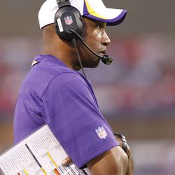 Aug 16, 2013; Orchard Park, NY, USA; Minnesota Vikings head coach Leslie Frazier on the sideline during the second quarter against the Buffalo Bills at Ralph Wilson Stadium.