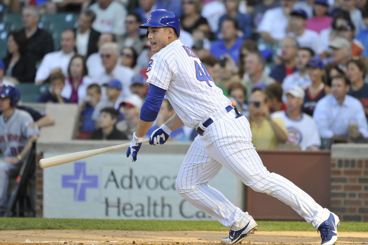 CHICAGO, IL - JUNE 26:  Anthony Rizzo #44 of the Chicago Cubs starts up the line after hitting a single during the first inning against the New York Mets at Wrigley Field on June 26, 2012 in Chicago, Illinois.  (Photo by Brian Kersey/Getty Images)
