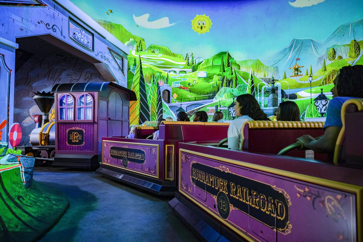 Guests board Runnamuck Railroad and journey into Runnamuck Park as part of Mickey & Minnie's Runaway Railway