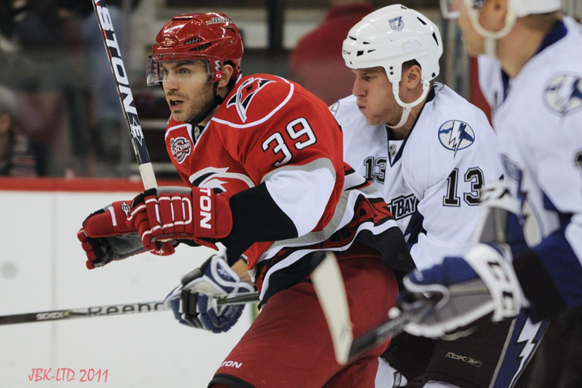 """Forward Patrick Dwyer was a versatile piece for the Hurricanes this season, serving as a bottom six wing and center while being one of Carolina's top penalty-killing forwards. (Photo by <a href=""""http://www.flickr.com/photos/jbk-ltd/"""">LTD</a>)"""