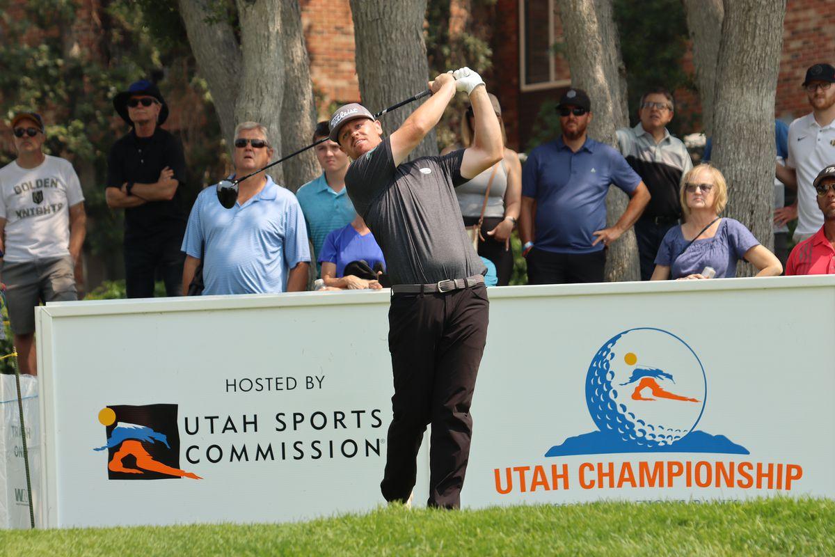 Former BYU golfer Patrick Fishburn hits a shot during the Korn Ferry Tour's Utah Championship.