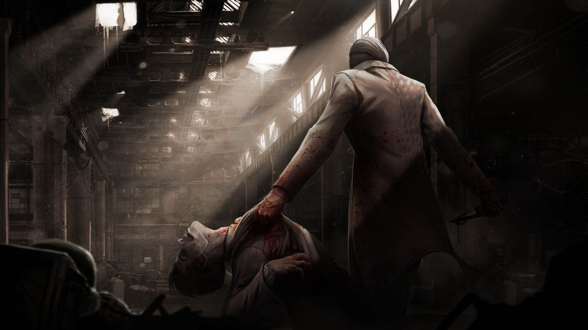 Dead by Daylight - The Trickster, a handsome man in a suit, holds up his latest kill