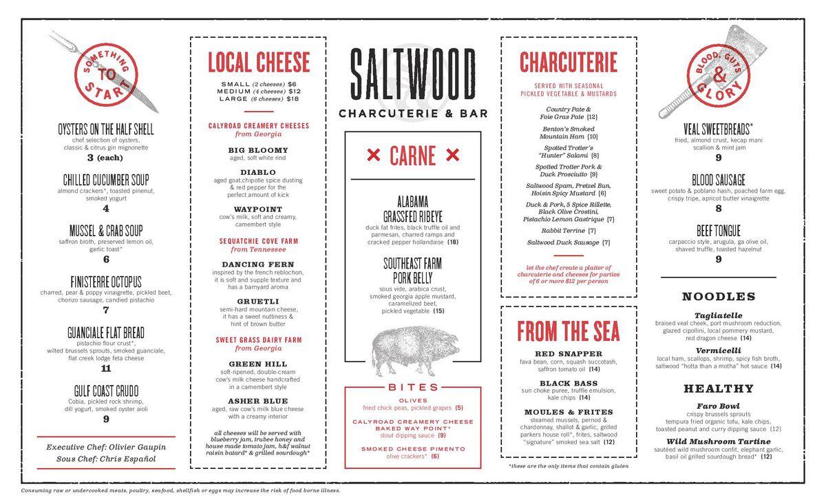 Saltwood dinner menu