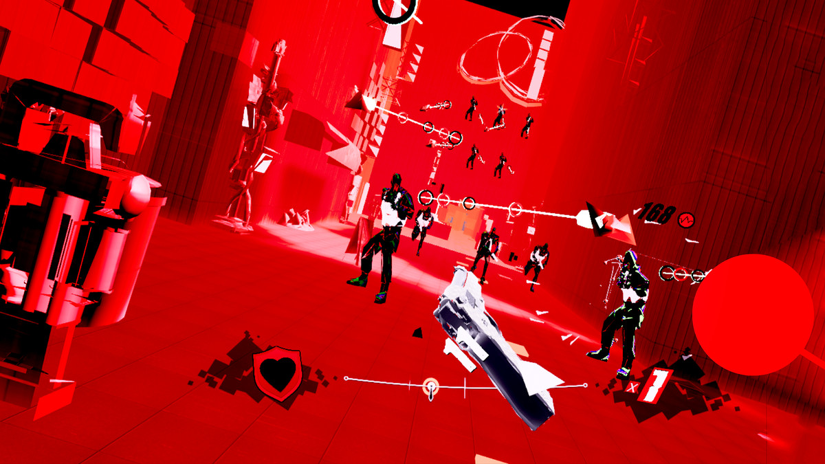 A floating gun aims at a large number of enemies standing in a red landscape