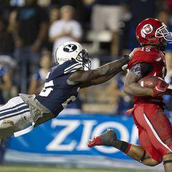 The BYU Football Team falls to the University of Utah 54-10 in Provo Utah on September 17, 2011.