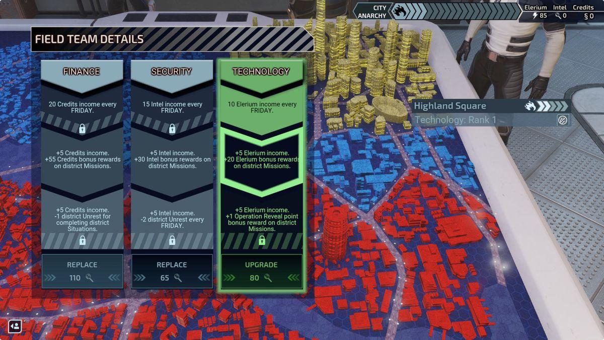 XCOM: تفاصيل الفريق الميداني لـ Chimera Squad ترقيات خريطة المدينة