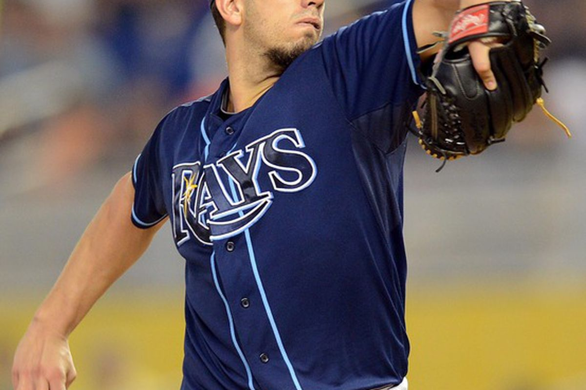 June 10, 2012; Miami, FL, USA; Tampa Bay Rays starting pitcher James Shields (33) throws during the first inning against the Miami Marlins at Marlins Park. Mandatory Credit: Steve Mitchell-US PRESSWIRE