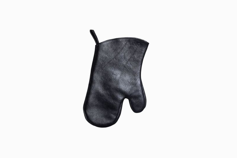 A black leather oven mitt