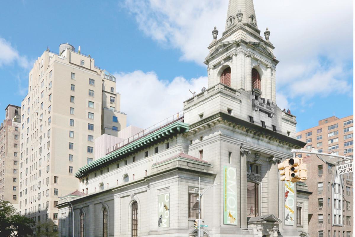 A Beaux Arts church in a street corner.