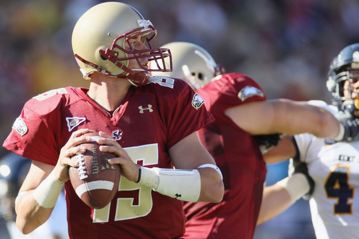 CHESTNUT HILL MA - SEPTEMBER 11: Dave Shinskie #15 of the Boston College Eagles looks to pass in the first half against the Kent State Golden Flashes on September 11 2010 at Alumni Stadium in Chestnut Hill Massachusetts.  (Photo by Elsa/Getty Images)