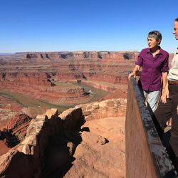 Interior Secretary Sally Jewell talks with Megan Blackwelder, manger of Dead Horse Point State Park, as she visits Canyon Country in southern Utah on Thursday, July 14, 2016. During her trip to the region, she said she was shocked by the lack of protection for Native American cultural sites. Today, President Barack Obama declared the Bears Ears National Monument in southeast Utah.
