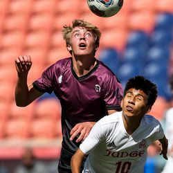 Morgan's Cameron Burt and Judge Memorial's Anthony Galindo go for a header in the 3A boys soccer championship at Rio Tinto Stadium in Sandy on Tuesday, May 18, 2021.