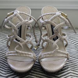 """Tom Ford strap sandals, $1,635. """"I have somewhat of a wide foot, so I make sure to find strappy heels that don't give me that ugly girl foot. These are amazing. They hit you in all the right places."""""""