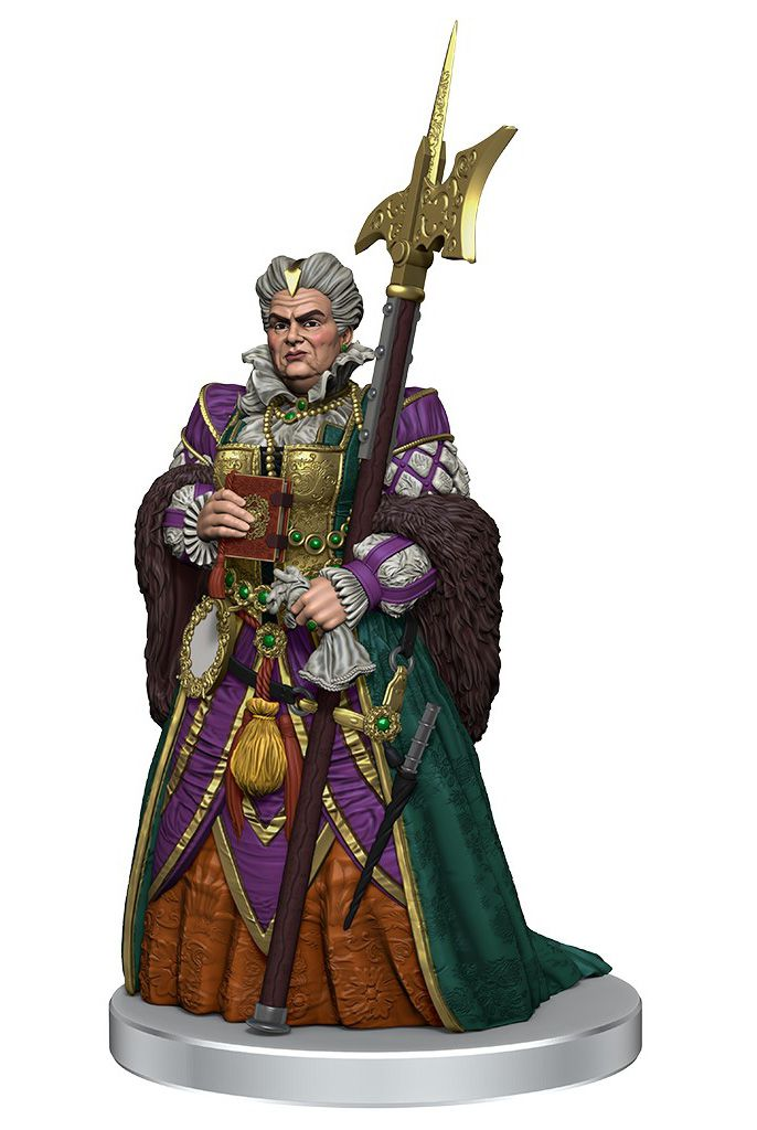 An elegant woman in a purple and gold brocade dress, a woolen shawl around her shoulders. She carries a massive halberd.