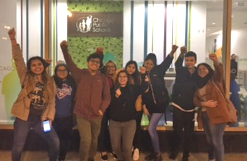 Students from several high schools in the area represented by the Brighton Park Neighborhood Council attended the Chicago Board of Education public budget hearing on Feb. 13. | Photo provided by Brighton Park Neighborhood Council