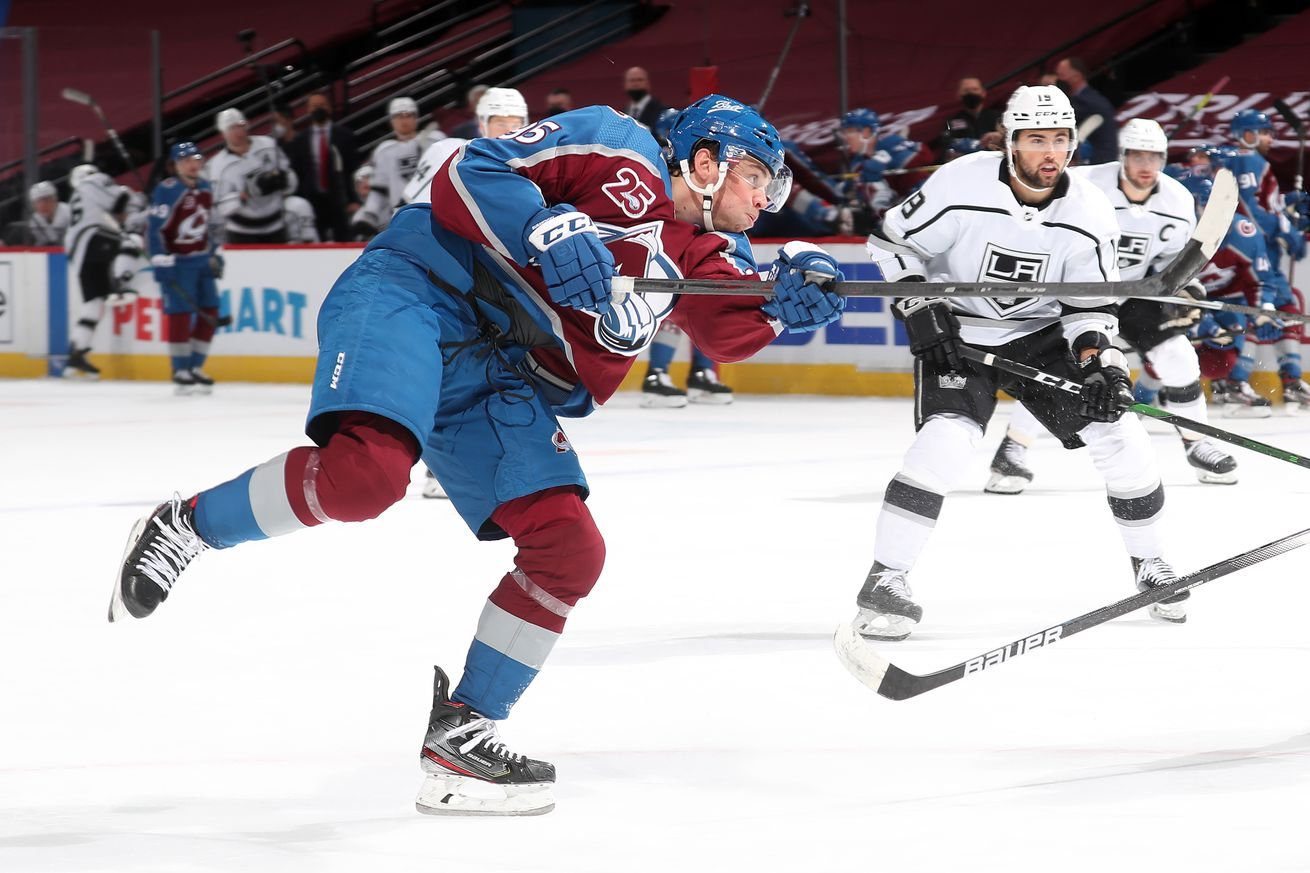 Andre Burakovsky #95 of the Colorado Avalanche shoots against the Los Angeles Kings at Ball Arena on March 14, 2021 in Denver, Colorado.