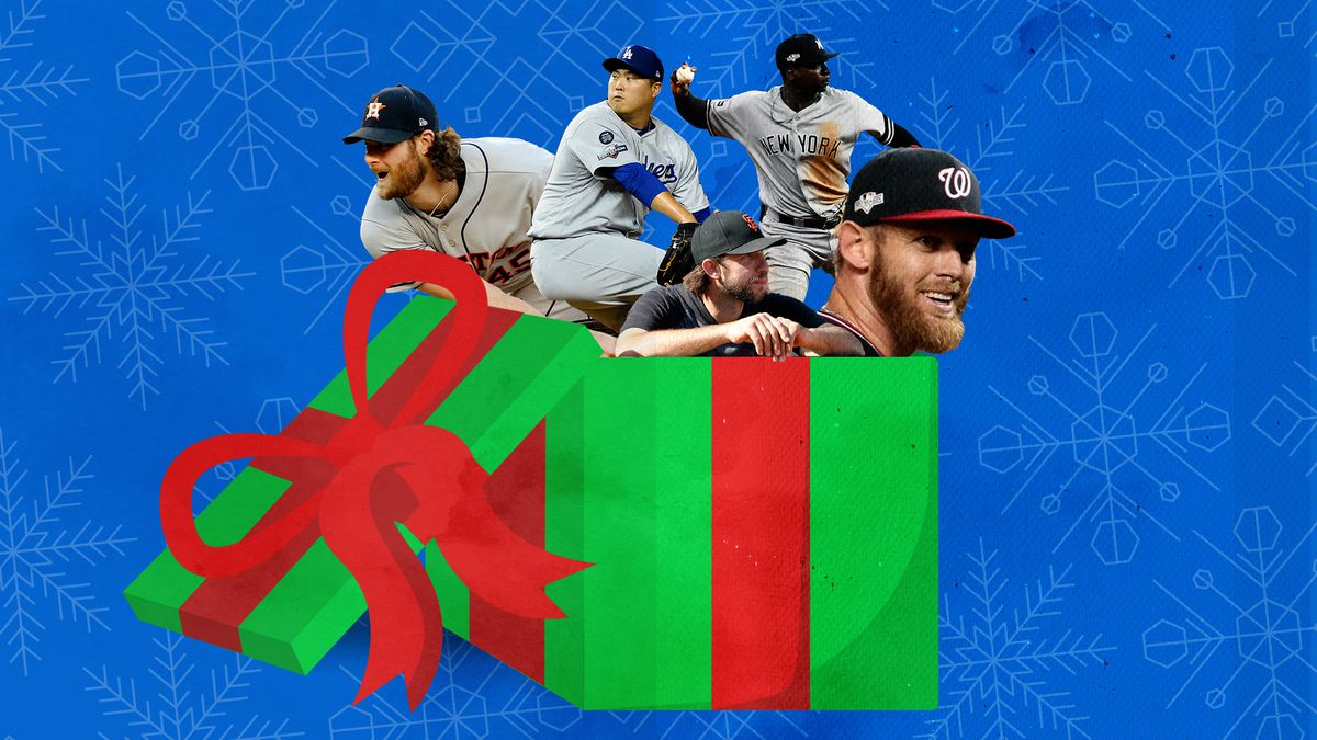 MLB free agents emerging from a gift box